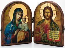 Wooden Icon Diptych Jesus Christ, Unfading Flower Складень Спас Неувядаемый Цвет