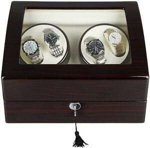 Luxury Automatic Watch Winder Wooden Box Piano Paint Storage Display Case 4+6