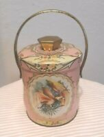 Vtg Tin Candy Canister Pail Shabby Chic Pink Murray Allen England Pheasants Bird