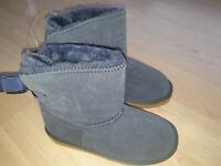 Lammfell Rindleder Boots Leder Grösse 34 blau Wildleder Mädchen NEU