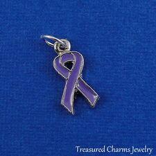 Silver and Purple AWARENESS RIBBON Pancreatic Cancer Alzheimer's Chron's CHARM