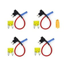 INIBUD 4 x Universal Add A Circuit Car Mini Blade Fuse Holder Adapter APS ATT...