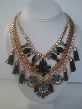 Statement Necklace Multiple Layered Gold Tone Blue Black Tassel