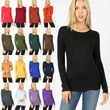 Women CREW NECK Long Sleeve T-Shirt Great Stretch Soft Cotton Tee Top GT-3320