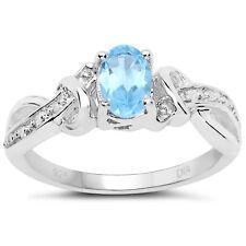 Sterling Silver Blue Topaz & Diamond Engagement Diamond Set Shoulders I to W