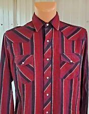 New listing L Vtg Wrangler Western Cowboy Pearl Snap Flannel Shirt Striped Rockabilly Red
