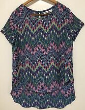 Cato Hi-Lo Abstract Flowy Sz L Top Green Blue-Multi Short Sleeve Single Button