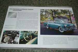 ★★1953 PACKARD CARIBBEAN CUSTOM CONVERTIBLE INFO SPEC SHEET PHOTO FEATURE PRINT