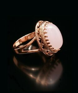 Pink Quartz 14k Rose Gold Filled Large Oval Ring 8 P Russian Classic