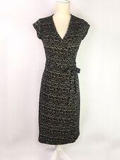 City DKNY Black Patterned Short Sleeve Wrap Dress Size S