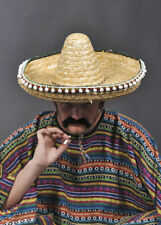 Ladies Mens XL 100cm Straw Sombrero Hat Mexican Wild West Fancy Dress Costume