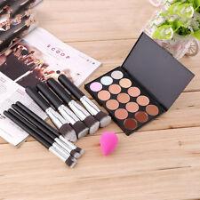 New 15-Colors Makeup Concealer Palette + Sponge Puff + 8pcs Brushes Set QT