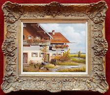 Schönes Ölgemälde Curd Heyden Sig. Hühnerhof 30 x 24 cm. Rahmen gratis Barock