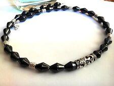 Men Male Necklace Gray-Black Hematite Tibetan Silver Beads Charm Style 4052
