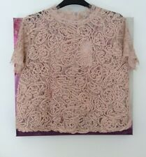 Zara Nude Pink Lace Embroidered Top, Size L UK 12 New