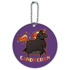 Candycorn Candy Corn Unicorn Halloween Round Luggage Card Carry-On ID Tag
