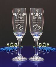 Personalised Engraved Flute Glasses MR and MRS Wedding Bride Groom by jevge