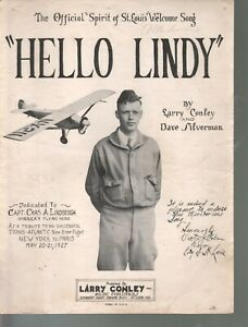 Hello Lindy 1927 Charles Lindbergh Sheet Music