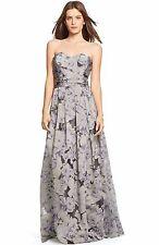 Lauren Ralph Lauren Floral Burnout Strapless Ball Gown (Size 14)