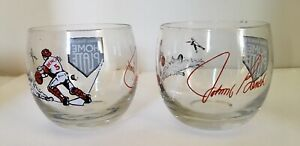 Pair Of Vintage 1970s Johnny Bench's Home Plate Restaurant Whiskey Glasses