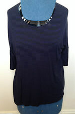 SUSSAN Black Blue Striped Dolman 3/4 Sleeve Oversize Casual Stretch Top XS
