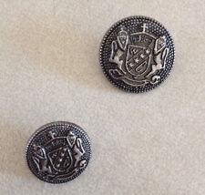 Pair Vintage Coat of Arms Silvertone Pewter Metal Shank Buttons 2cm 1.5cm