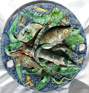 monumental French majolica Palissy Victor Barbizet dish  Frog Fishes Shells