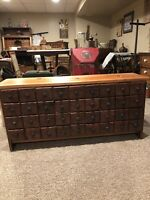 Antique Primitive Wooden Oxblood Red 36 Drawer Cubby