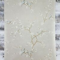 York Bird With Blossoms Hand Painted Silver Gold French HP0235 Floral Wallpaper