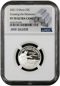 2021 S Silver 25C Crossing the Delaware NGC PF 70 ULTRA CAMEO - 99.9% Silver