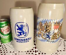 2 large vintage Lowenbrau Munchen & Bayern Lion Crest 1l Beer Steins Germany