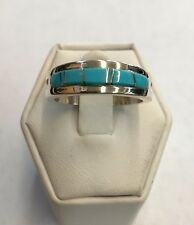 Native American Navajo Sterling Silver Turquoise Wedding Band Ring Size 9