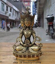 Tibet Tantra Buddhism Temple Brass 4 Head Namgyalma&Ushnishavijaya Buddha Statue