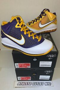 New Nike Lebron 7 QS Lakers Media Day Men's 6.5-8 Basketball Sneakers CW2300-500