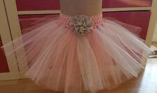 BABY GIRL HANDMADE RED & SILVER GLITTER TUTU SKIRTS NEWBORN-24 MONTHS PHOTO PROP
