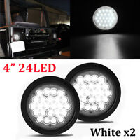"2X 4"" White 24 LED Round Reverse Backup Tail Light For Truck Trailer Lorry Bus"