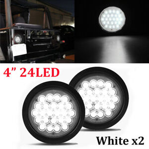 """2X 4"""" White 24 LED Round Reverse Backup Tail Light For Truck Trailer Lorry Bus"""