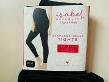 Isabel Maternity Black Full Length Tights S/M Seamless Belly Stretch Comfort