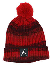Jordan Nike Boys Size 8/20 Ombre Design Knit Pom Pom Beanie Hat NWT Gym Red
