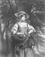 Walter Scott PRETTY COUNTRY FARM GIRL PHOEBE MAYFLOWER, 1866 Art Print Engraving