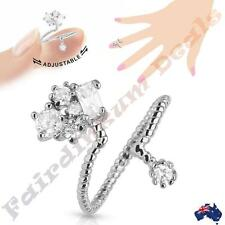 Silver Rhodium Plated Adjustable Nail Ring with Cubic Zirconia Cluster