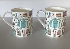 (2) Tiffany & CO. New York 5th Avenue Scene Fine Bone China Coffee Cups