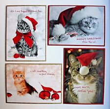 *GRAPHIQUE Set of 4 Christmas Glitter Embellished Note Cards ~ Cats ~ Kittens