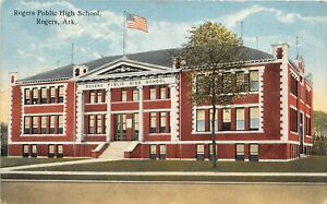 G95/ Rogers Arkansas Postcard 1917 Public High School Building