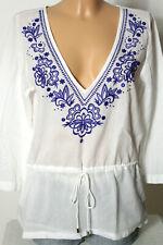 H&M Bluse Gr. 38 weiß-blau Hippie Folklore Hüft Bluse/Tunika mit Stickereien