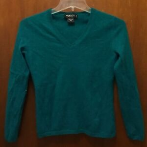 Women LORD & TAYLOR Green 100% Cashmere V-neck Pullover L/s Sweater Petite Small