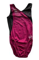 GK Elite By Aly Raisman (Olympian) Leotard Magenta With Bling Tank Adult M