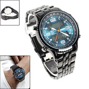 Herrenuhr LED Armbanduhr Blau Edelstahl Quarzuhr Wasserdicht Sportuhr Datum