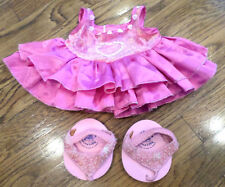 Build A Bear Pink Sparkle Fancy Heart Dress with Sequined Sandle Shoes