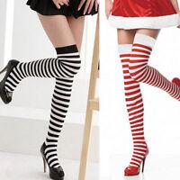 Fashion Women Thigh High Striped Over the Knee Slim Leg Stockings Sock US Seller
